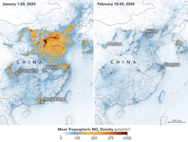 Mapas da NASA mostram as concentrações de dióxido de azoto na China entre Janeiro e Fevereiro. Foto: Nasa Handout/EPA
